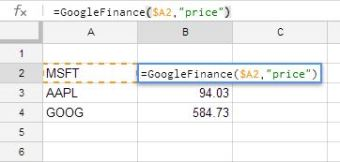 Using GoogleFinance()