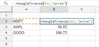 Using GoogleFinance()